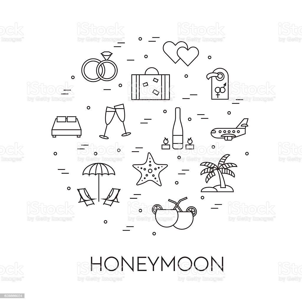 Horizontal banner with honeymoon symbols Line art vector art illustration