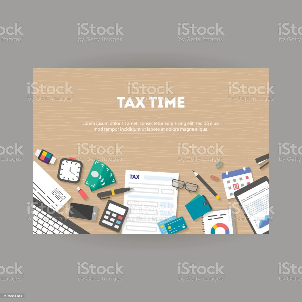Horizontal banner with icons paying taxes vector art illustration