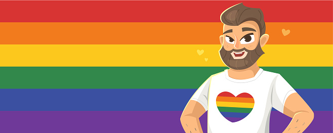 Horizontal banner with man on LGBT flag. Vector illustration