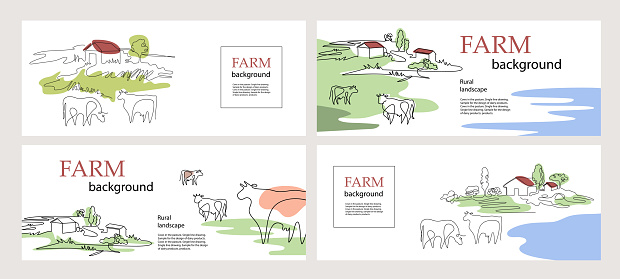 Horizontal banners. Cows and village houses. Agricultural template. Cows in the pasture. One line drawing. Set of backgrounds.