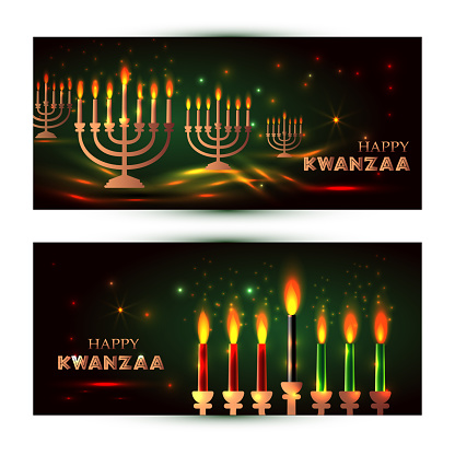 Horizontal Banners for Kwanzaa with traditional colored and candles representing the Seven Principles or Nguzo Saba .