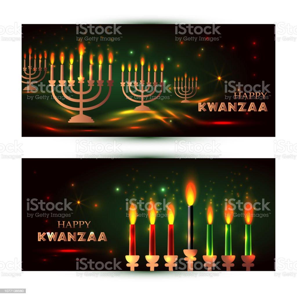Banners horizontais para Kwanzaa com cores tradicionais e velas representando os sete princípios ou Nguzo Saba. - ilustração de arte em vetor