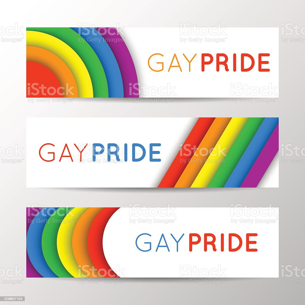 Horizontal banners for Pride Month. Gay culture, rainbow symbol vector art illustration