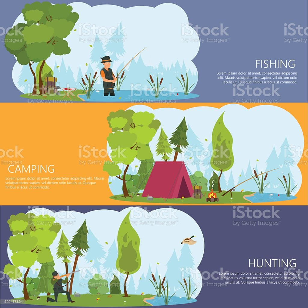 horizontal banners on the theme of man's recreation. vector art illustration