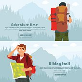 Colorful vector flat banner set. horizontal banners on the theme of travel, adventure, hiking, nature, mountains, forests, camping, family vacations. vector