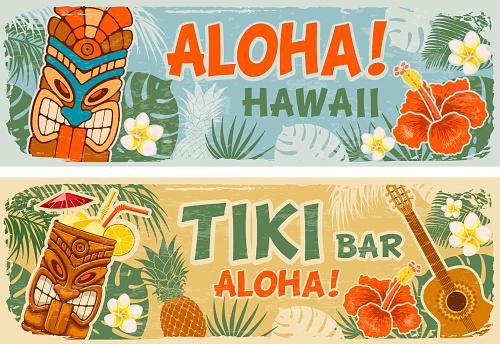 Horizontal Banners Set In Hawaiian Style
