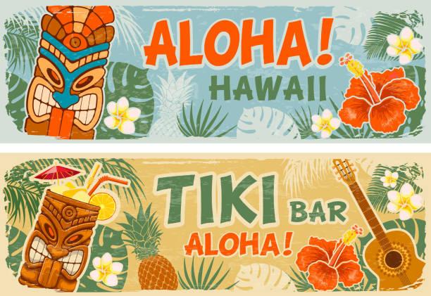 Horizontal Banners Set In Hawaiian Style Horizontal banners set with Tiki mask and other hawaiian different symbols in vintage style. Hawaiian summer party. Tiki bar sign board. Vector illustration. hawaiian culture stock illustrations