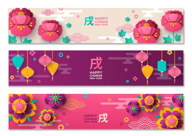 illustrations, cliparts, dessins animés et icônes de jeu de bannières horizontales avec des éléments du nouvel an chinois - nouvel an chinois