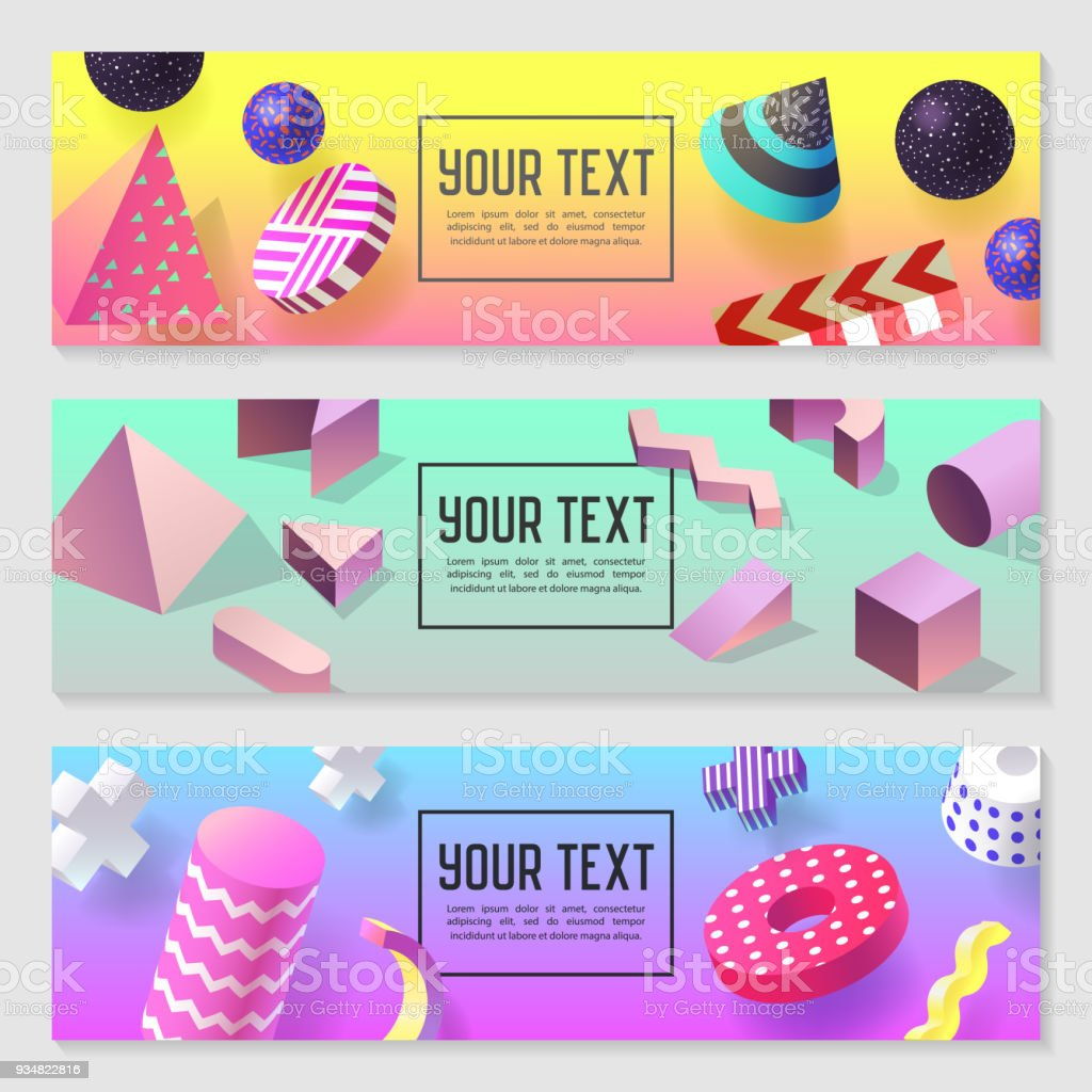 Horizontal Banners Set With Geometric 3d Shapes Templates For Sale