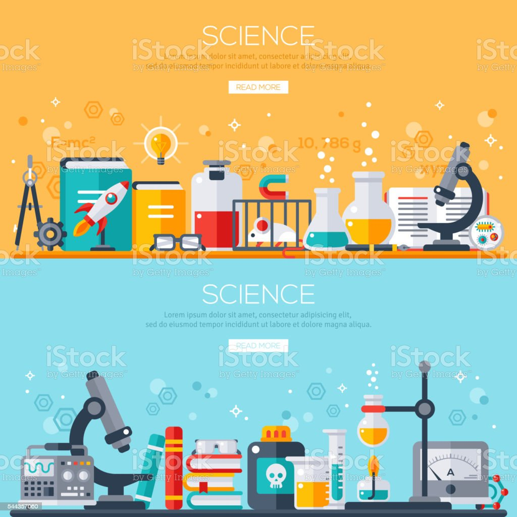 Horizontal banners set with scientist workplaces vector art illustration