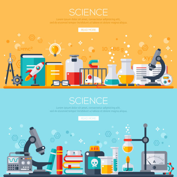 horizontal banners set with scientist workplaces - science class stock illustrations, clip art, cartoons, & icons
