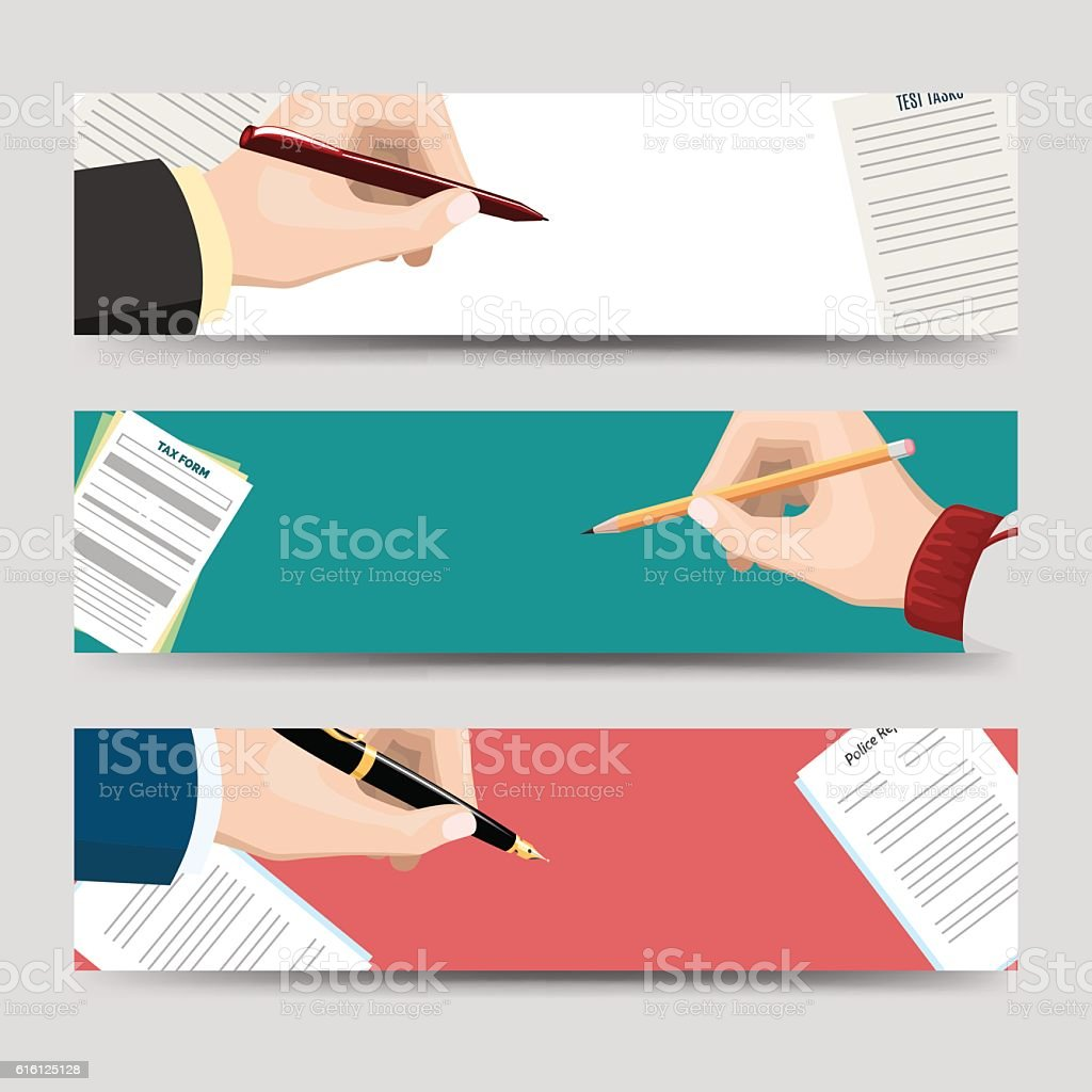 horizontal banners template with signing document 1人のベクター
