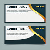 Horizontal banners with 3D abstract background isolated on white background. Vector illustration. Eps 10.