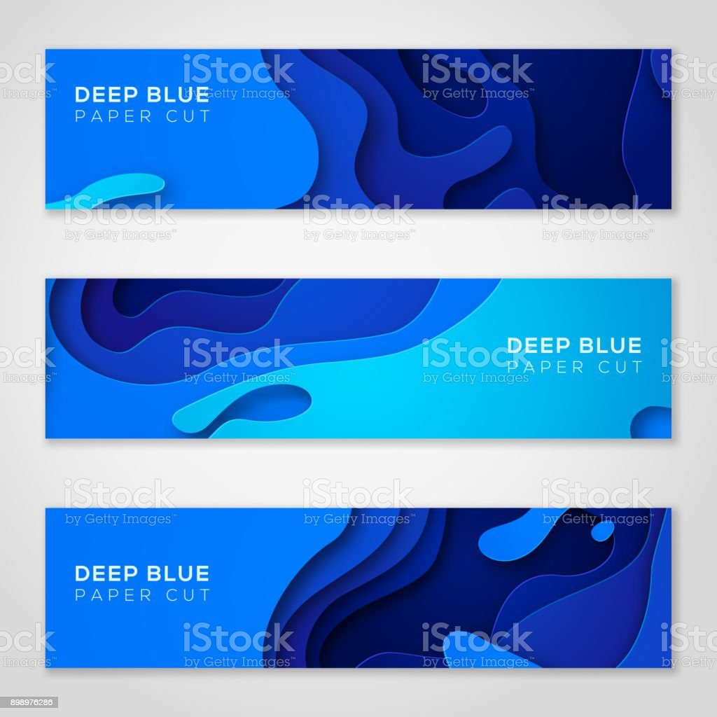 Horizontal banners with abstract blue background vector art illustration