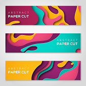 Horizontal banners with 3D abstract background with paper cut shapes. Vector design layout for business presentations, flyers, posters and invitations. Colorful carving art - blue, yellow and violet
