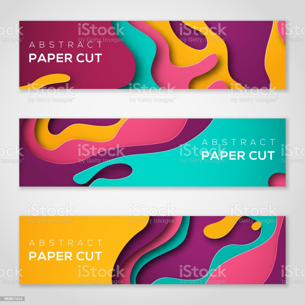 Horizontal banners with abstract paper cut shapes - ilustración de arte vectorial
