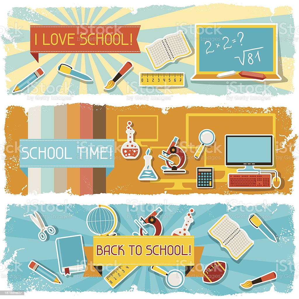 Horizontal banners with an illustration of school objects. royalty-free stock vector art