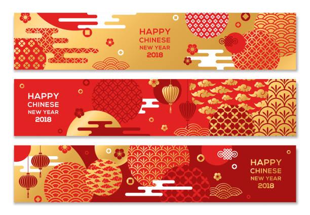 illustrations, cliparts, dessins animés et icônes de bannières horizontales avec chinois géométriques ornés - nouvel an chinois