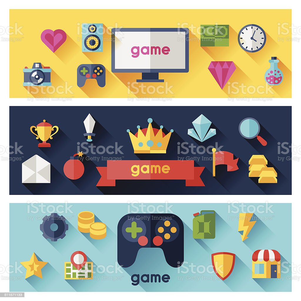 Horizontal banners with game icons in flat design style. vector art illustration