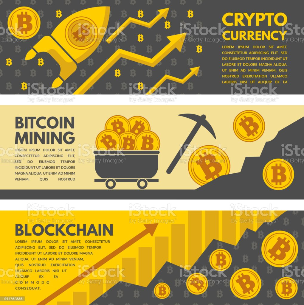 Horizontal Banners With Illustrations Of Bitcoin Mining