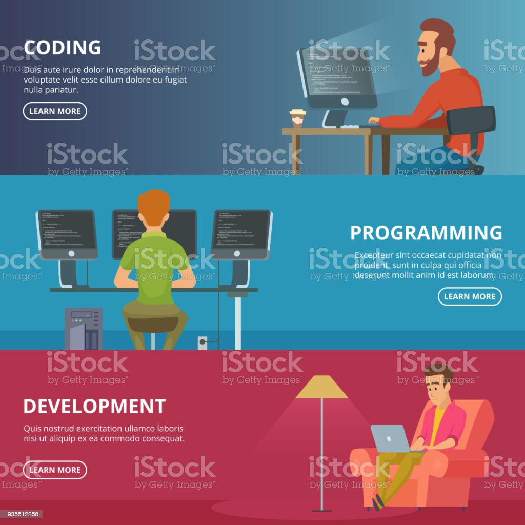 Horizontal banners with illustrations of designers and programmers....