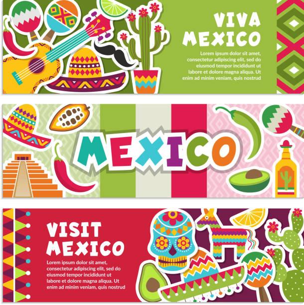 stockillustraties, clipart, cartoons en iconen met horizontale banners met mexicaanse symbolen. viva mexico - slaginstrument