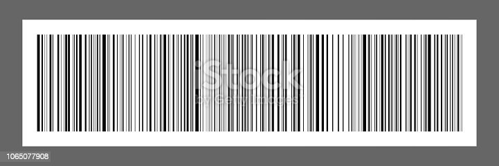 horizontal black bar code on white paper sticker for pattern and design,vector illustration.