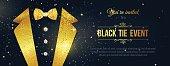 Horizontal Black Tie Event Invitation.