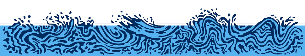 Horizontal border - abstract water wave background