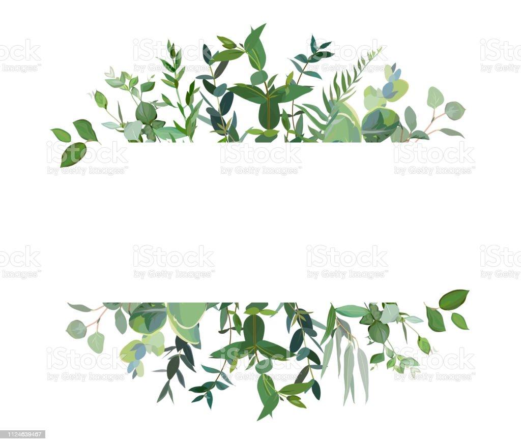 Horizontale botanische vector ontwerp banner. - Royalty-free Aquarel vectorkunst
