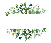 Horizontal botanical vector design banner. Eucalyptus, wildflowers, various plants, leaves and herbs.Natural card or frame. Greenery wedding simple invitation. Watercolor style. Isolated and editable