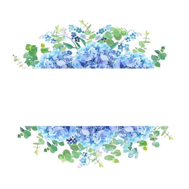 stockillustraties, clipart, cartoons en iconen met horizontale botanische vector ontwerp banner. - hortensia
