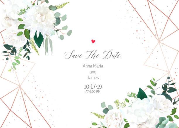 bildbanksillustrationer, clip art samt tecknat material och ikoner med horisontella botaniska vektor design ram. - white roses