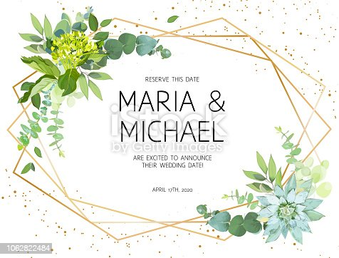 Horizontal botanical vector design frame.Eucalyptus, succulents, green hydrangea, wildflowers, greenery, leaves, herbs. Natural spring wedding card.Gold line art.All elements are isolated and editable