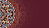 Horizontal brown background with mandala 2