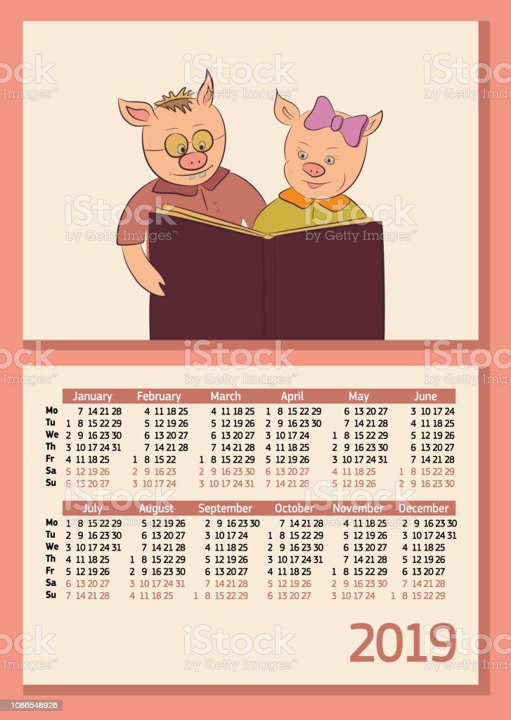 Calendrier Fille Ou Garcon 2019.Calendrier Horizontal Annee 2019 Deux Cochons Lire Le Livre