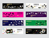 Horizontal carnival web banner masks celebration festive carnaval masquerade background festival flyer vector illustration