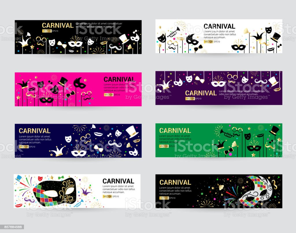 Horizontal carnival web banner masks celebration festive carnaval masquerade background festival flyer vector illustration vector art illustration