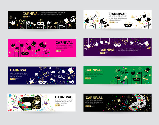 horizontal carnival web banner masks celebration festive carnaval masquerade background festival flyer vector illustration - mardi gras stock illustrations, clip art, cartoons, & icons
