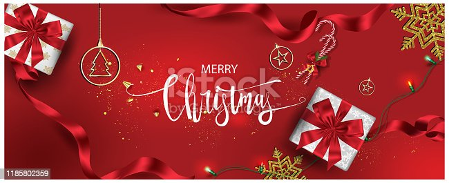 istock Horizontal Christmas and Happy New Year banner Xmas sparkling lights garland with gifts box greeting cards, headers, website Objects viewed from above. Flat lay,Top view elements for promotion isolate 1185802359