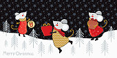 Horizontal Christmas and new year banner or card with funny cartoon mice in gold, red, and silver. Winter forest on the background of the starry sky. Funny mice in vector.  Chinese symbol 2020. Doodle.