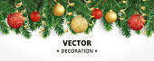 Horizontal banner with christmas tree garland and ornaments. Hanging gold and red balls and ribbons. Great for flyers, posters, headers. Vector illustration