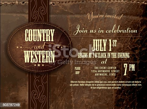 istock Horizontal counry and western Leather invitation design template 503787249