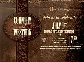 Horizontal counry and western Leather invitation design template
