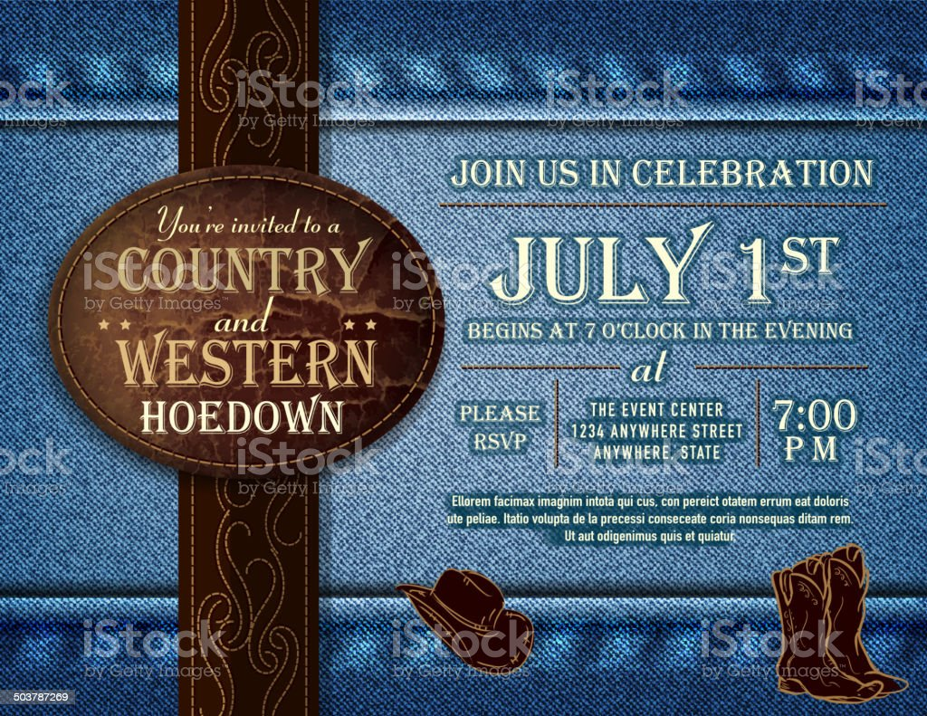 Horizontal Country and western Hoedown invitation design vector art illustration