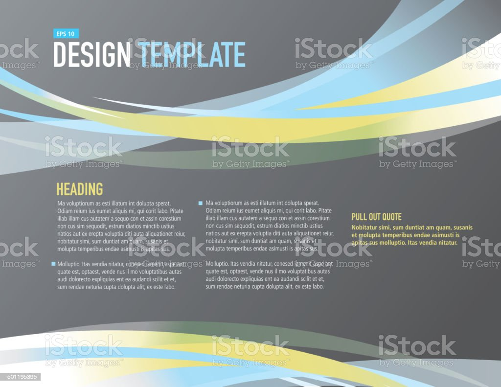 horizontal design layout template gray blue and yellow sample, Presentation templates