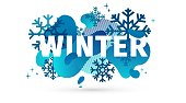Horizontal Design winter template banner with abstract geometric shape background. Cold blue style layout for season offer or sale with snowflake and fluid graphic dynamic decoration backdrop. Vector.