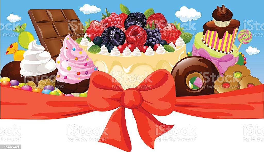 horizontal design with sweet food royalty-free stock vector art