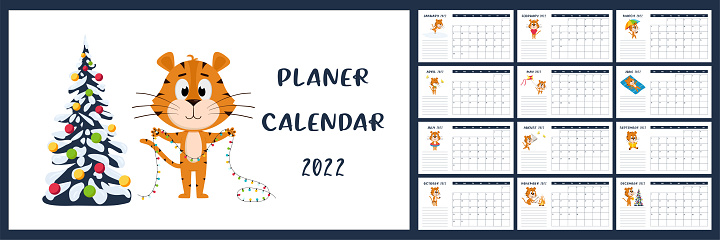 Horizontal Desktop Calendar Template 2022. Week starts on Sunday. Ready-to-print calendar with Chinese year symbol cartoon Tiger. A set of 12 pages and a cover. All months.white background