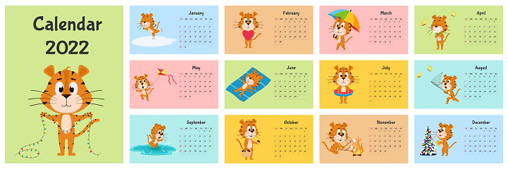Horizontal Desktop Calendar Template 2022. Week starts on Sunday. Ready-to-print calendar with Chinese year symbol cartoon Tiger. A set of 12 pages and a cover. All months.Multi-colored background